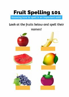 Interactive worksheet Year 1: fruits spelling