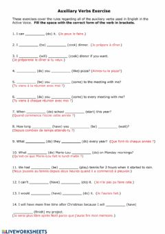 Ficha interactiva Practice with Auxiliary Verbs