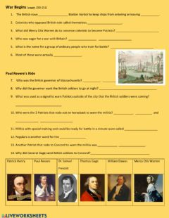 Interactive worksheet Revolutionary War Begins