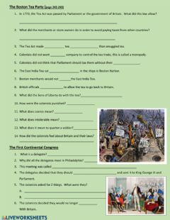 Interactive worksheet The Boston Tea Party