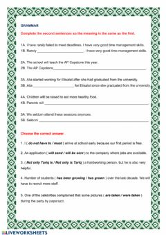 Interactive worksheet G10-U05-Revision