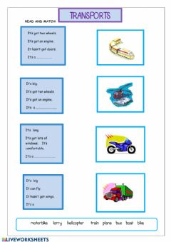 Transports worksheet preview