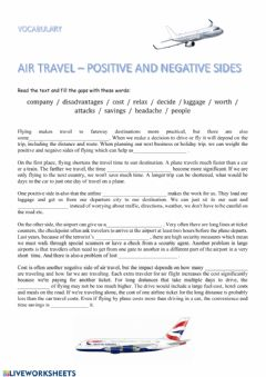 Interactive worksheet Air travel Pros and cons