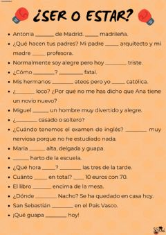 Interactive worksheet Ser o estar