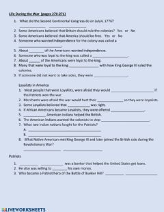Interactive worksheet Life During the Revolutionary War