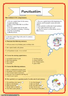 Interactive worksheet Punctuation for beginners
