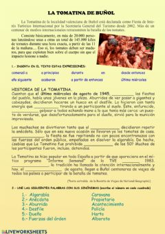 Interactive worksheet Tomatina