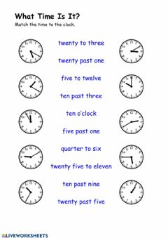 Interactive worksheet What Time Is It? 1B Arrow