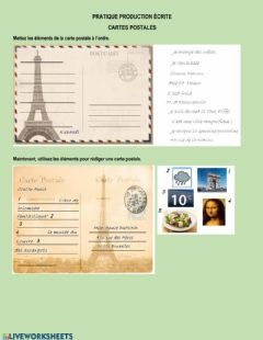 Interactive worksheet Cartes postales