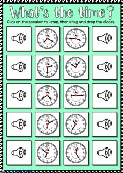 Interactive worksheet What's the time? - drag and drop