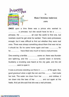 Interactive worksheet The princess and the pea