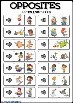 Interactive worksheet Opposites: listen and choose