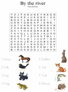 Interactive worksheet By the river. Wordsearch