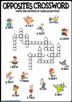 Interactive worksheet Opposites crossword