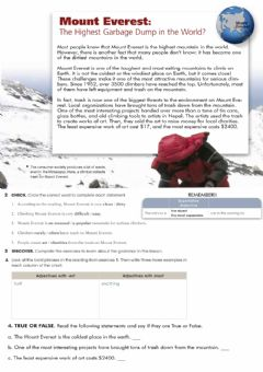 Interactive worksheet Superlatives Everest