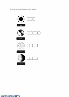 Interactive worksheet The planets, satellits and stars