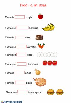 Interactive worksheet A, An, Some Food