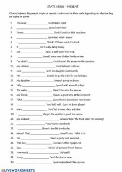 Interactive worksheet Present Simple Present Continuous Statives