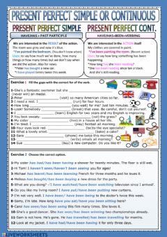 Present perfect simple or continuous worksheet preview