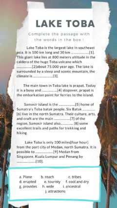 Interactive worksheet Lake toba quiz
