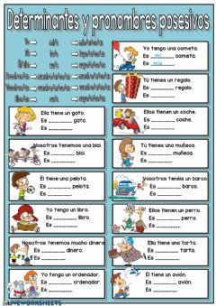 Interactive worksheet Determinantes y pronombres posesivos
