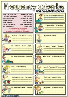 Interactive worksheet Frequency adverbs and household chores