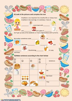 Interactive worksheet Breakfast
