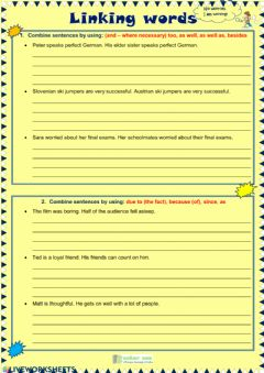 Interactive worksheet Linking words