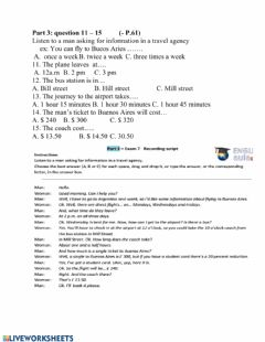 Interactive worksheet Listening multiple choice travel agency