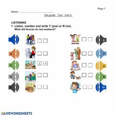 Interactive worksheet Test 5th grade - Past Simple - Listening activity