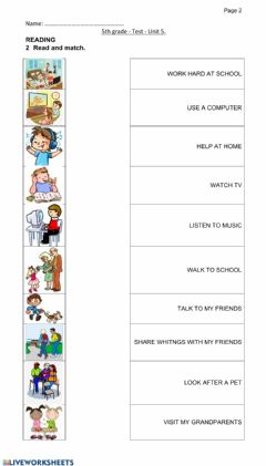 Interactive worksheet Test 5th grade - daily activities
