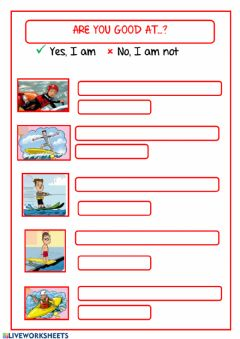 Interactive worksheet Are you good at...?