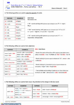 Ficha interactiva Suffixes and Prefixes