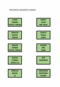 Interactive worksheet Padankan jawapan novel