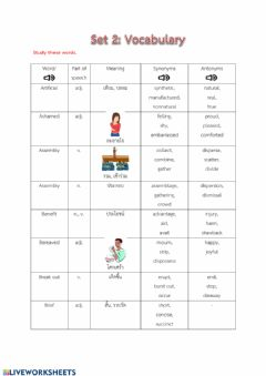 Interactive worksheet Vocabulary set2