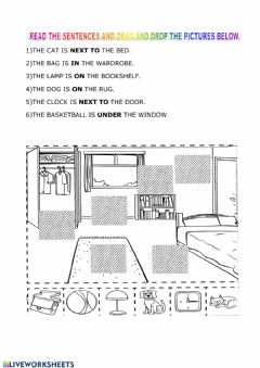 Interactive worksheet Prepositions of place drag and drop