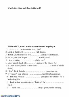 Interactive worksheet Will-won't-am,is,are going to