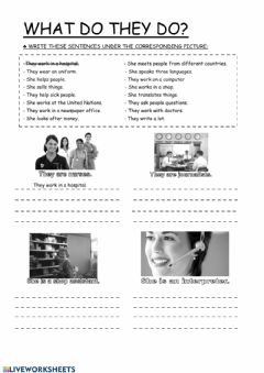 Interactive worksheet What do they do?