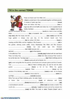 Interactive worksheet Present & Past Tenses