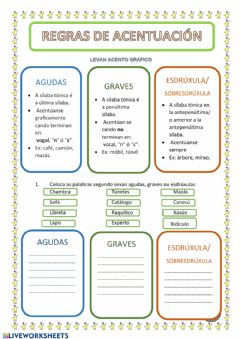 Interactive worksheet acento gráfico 1 galego