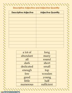 Interactive worksheet Descriptive adjective and adjective quantity