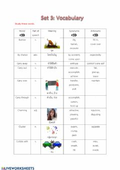 Interactive worksheet Vocabulary set3