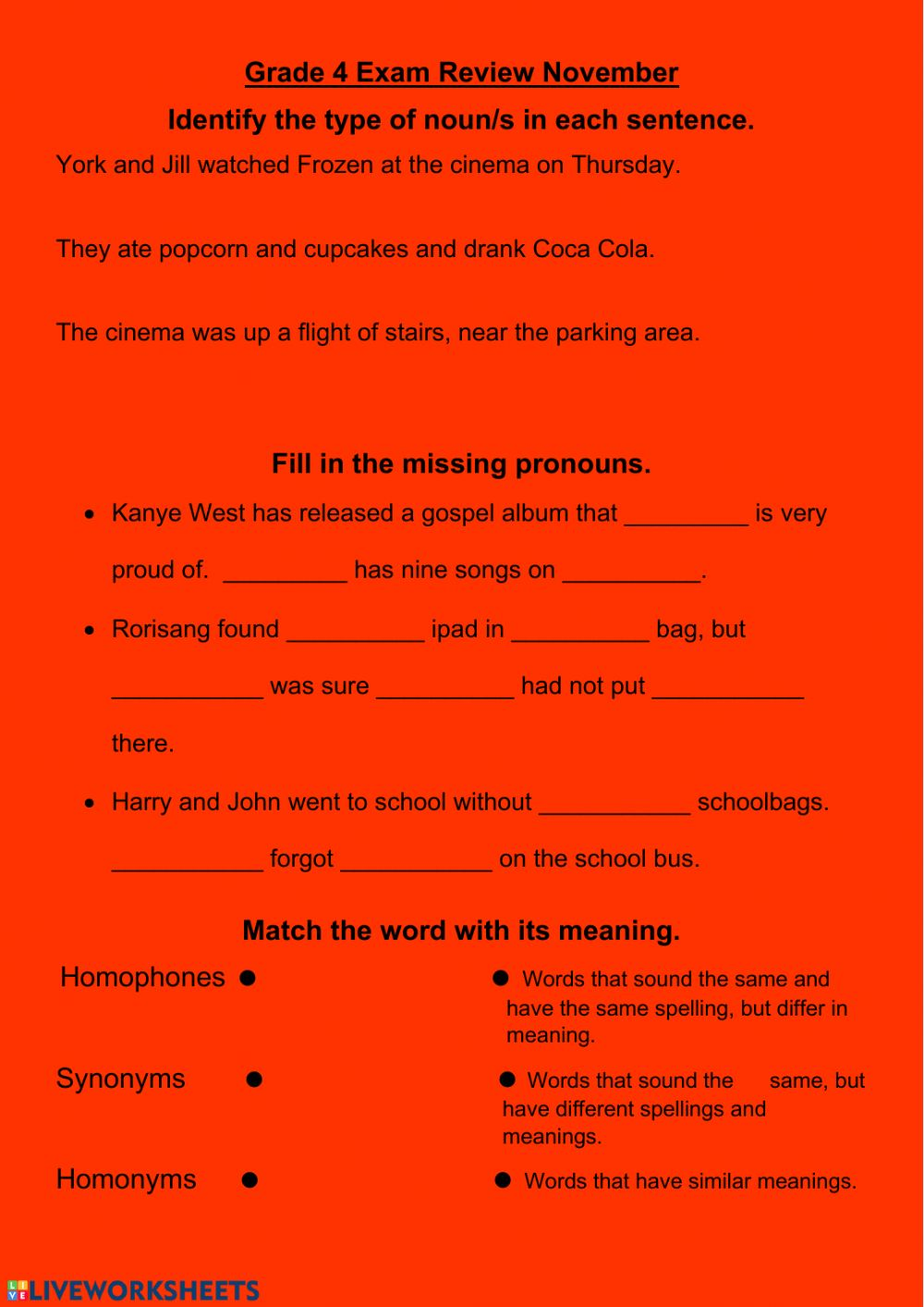 - Grade 4 English Review End Of Year - Interactive Worksheet