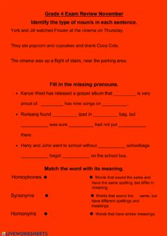 Interactive worksheet Grade 4 English Review End of Year