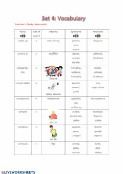 Interactive worksheet Vocabulary set4