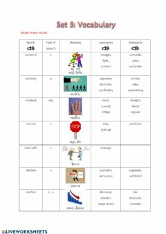 Interactive worksheet Vocabulary set5