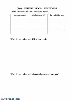 Interactive worksheet (to) – infinitive or – ing form.