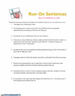 Ficha interactiva Run-on sentences