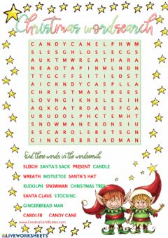 Interactive worksheet Christmas wordsearch