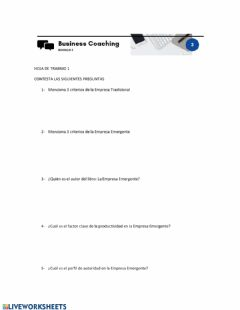 Interactive worksheet Empresa Emergente Claves